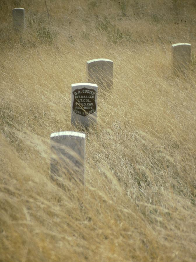 George Custer Gravestone at Little Bighorn. National Monument in Montana. This cemetery marks a significant point in Western American history and serves as a royalty free stock photos