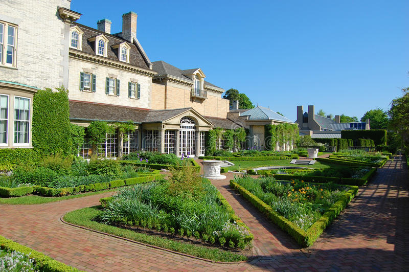 George Eastman House, Rochester. George Eastman House Garden in Rochester, New York State, USA stock photo