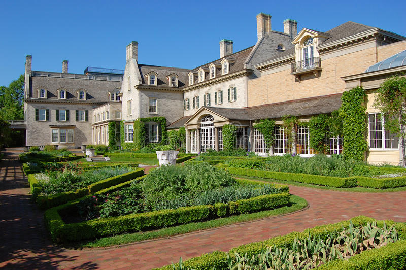 George Eastman House, Rochester. George Eastman House Garden in Rochester, New York State, USA stock image