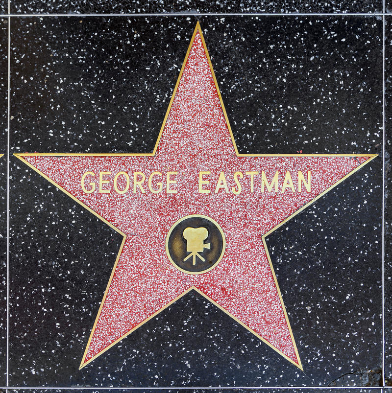 George Eastman's star on Hollywood Walk of Fame royalty free stock photography