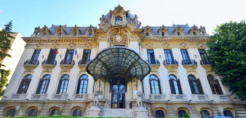 George Enescu museum i Bucharest, Rumänien royaltyfri fotografi