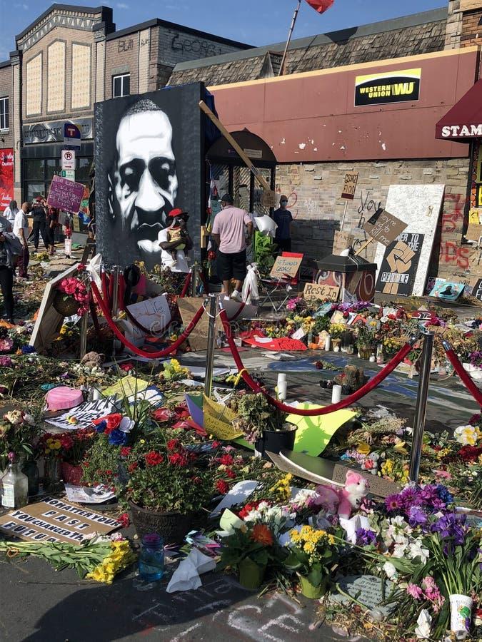 George Floyd Memorial. Minneapolis, Minnesota / USA - Jun 14, 2020: Memorial honoring George Floyd outside of Cup Foods, where he was murdered by Derek Chauvin stock photo