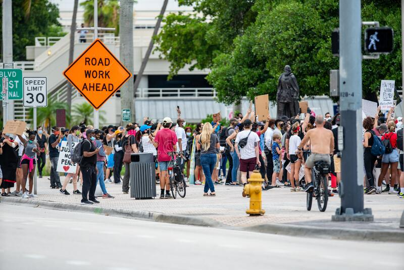 George Floyds death by police brutality protest Black Lives Matter at Downtown Miami FL USA. Miami, FL, USA - June 6, 2020: George Floyds death by police royalty free stock photography