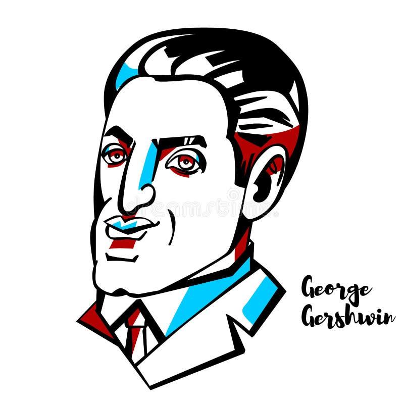 George Gershwin portret ilustracja wektor