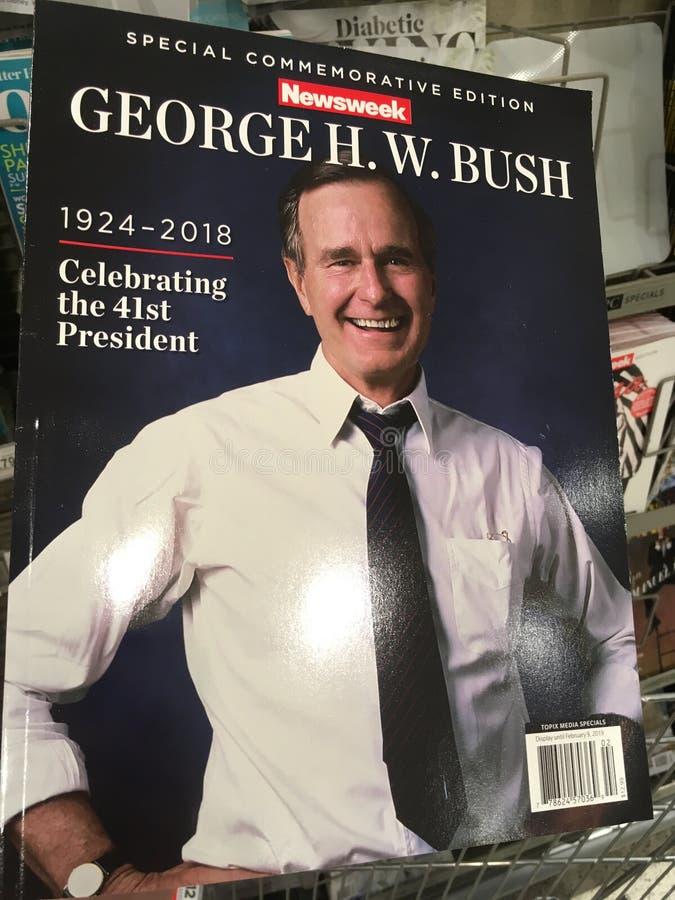 George H W Bush op een dekking van tijdschrift royalty-vrije stock fotografie