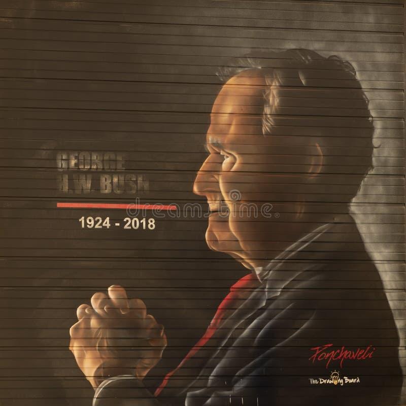 George H W Bush väggmålning, Dallas, Texas arkivbilder