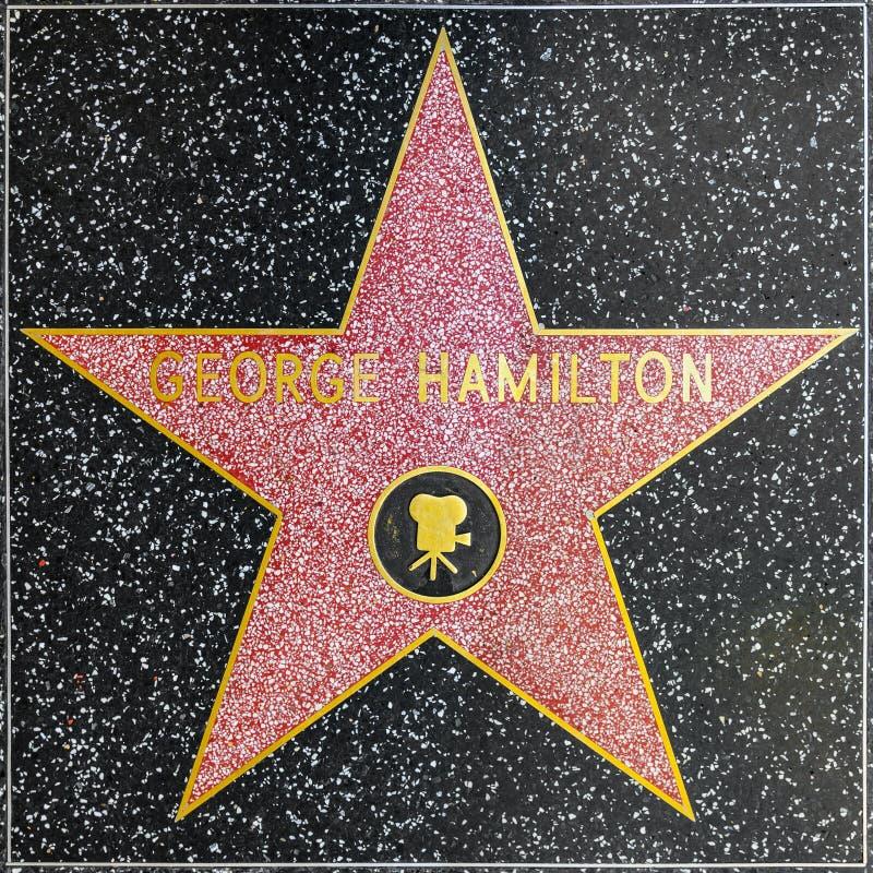 George Hamiltons-ster op Hollywood-Gang van Bekendheid royalty-vrije stock afbeelding