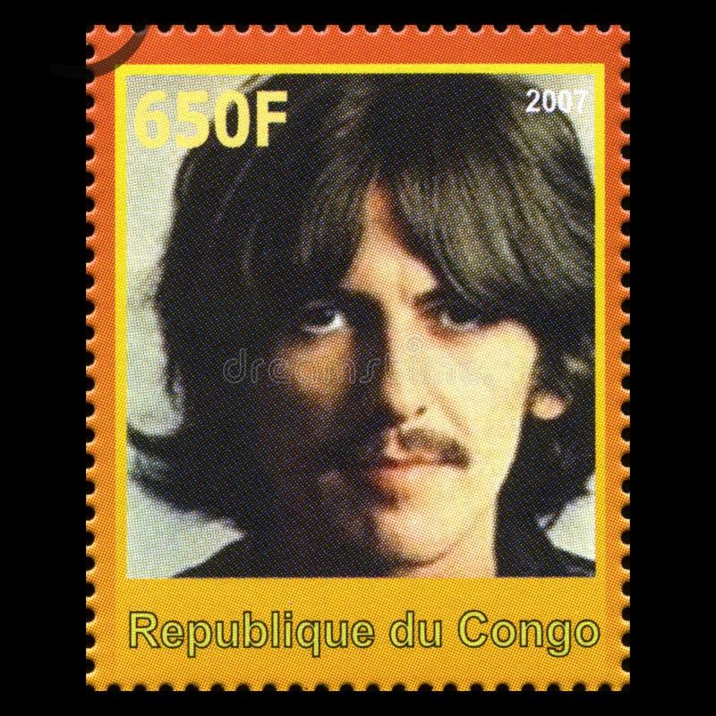 George Harrison Bitelsi znaczek pocztowy od Kongo zdjęcia royalty free