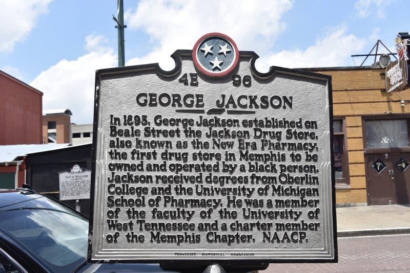 George Jackson Dziejowy markier Beale Uliczny Memphis, TN zdjęcia royalty free