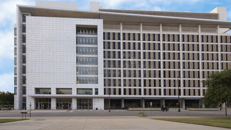 George L Allen Sr Tribunal, calle del comercio, Dallas, Tejas fotografía de archivo libre de regalías