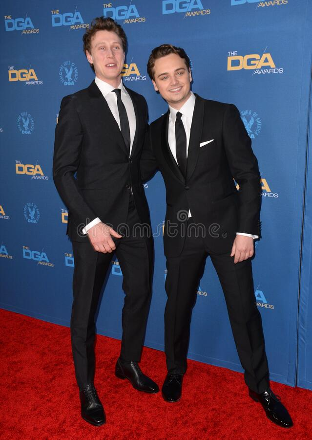 George MacKay & Dean-Charles Chapman. LOS ANGELES, USA. January 25, 2020: George MacKay & Dean-Charles Chapman at the 72nd Annual Directors Guild Awards at the stock photos