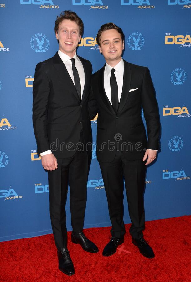 George MacKay & Dean-Charles Chapman. LOS ANGELES, USA. January 25, 2020: George MacKay & Dean-Charles Chapman at the 72nd Annual Directors Guild Awards at the stock photography
