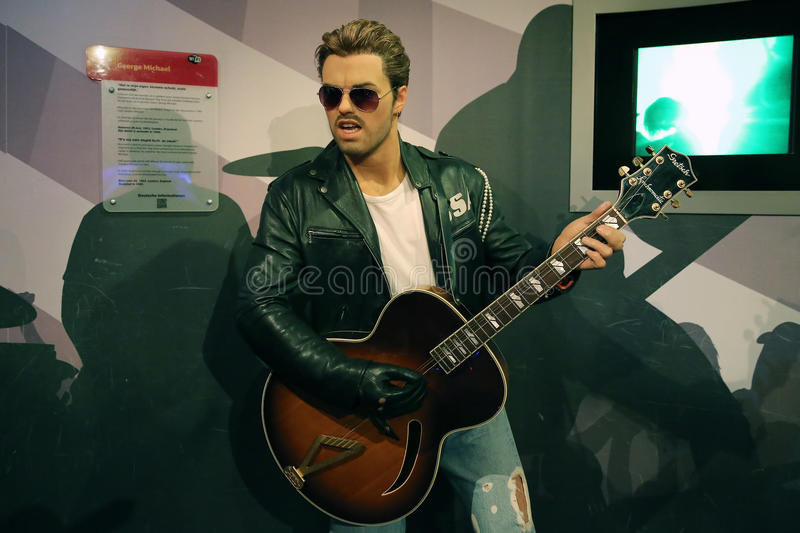 George Michael wax statue. Waxwork statue of George Michael in the Madame Tussauds Museum from Amsterdam, Netherlands royalty free stock image