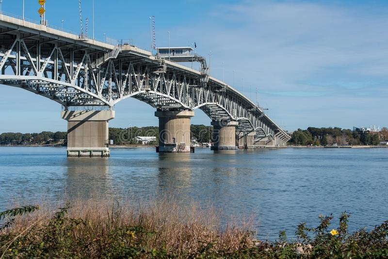 Coleman Bridge. The George P. Coleman Memorial Bridge is a double swing bridge that spans the York River between Yorktown and Gloucester Point, in the United stock photo