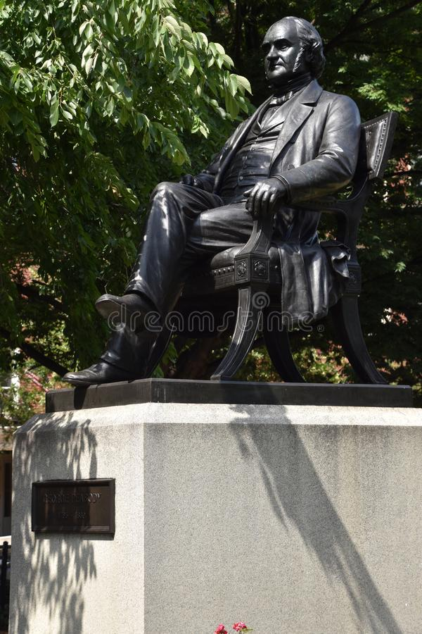 George Peabody statue in Baltimore, Maryland. USA stock photos