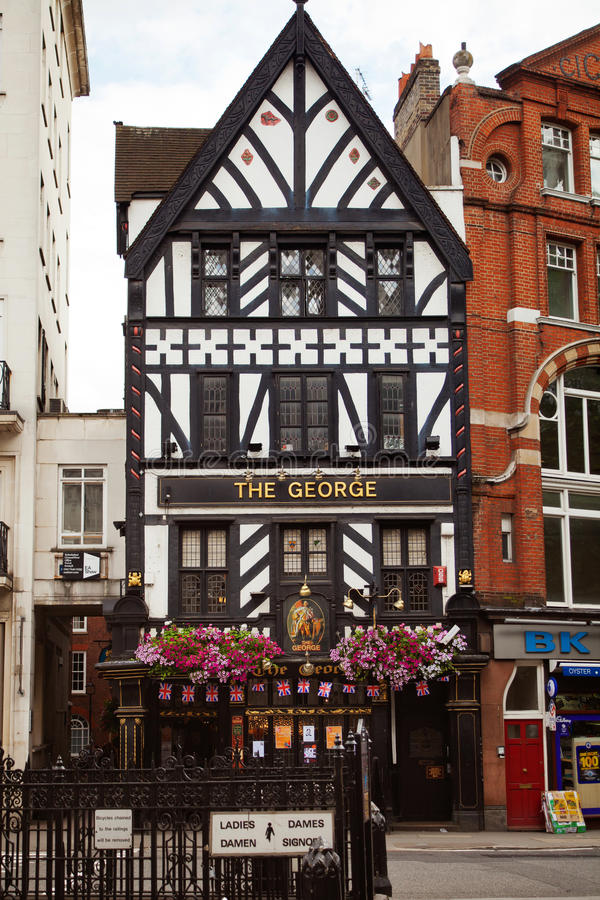 The George Pub, Fleet Street Building From 1723. Founded in 1723 as a coffee house, became Georges Hotel in 1830 and then a public house as it is today. Current royalty free stock photography