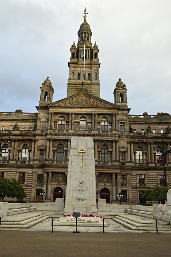 George Square e Glasgow City Chambers immagine stock