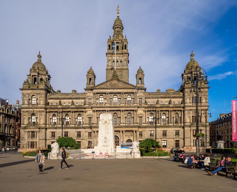 George Square, Glasgow. George Square in Glasgow, UK . George Square is the principal civic square in the city of Glasgow, Scotland. It is named after King royalty free stock photo