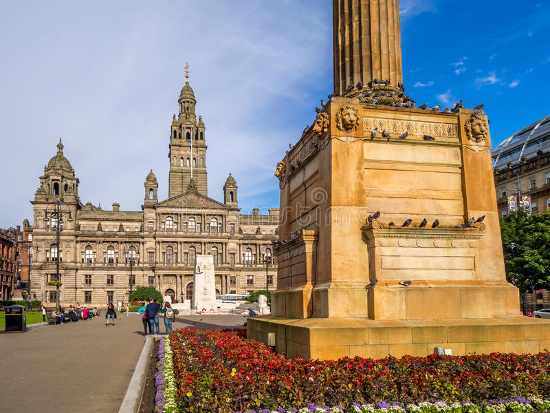 George Square, Glasgow. George Square in Glasgow, UK . George Square is the principal civic square in the city of Glasgow, Scotland. It is named after King stock photo