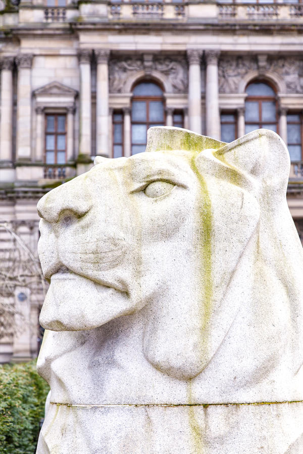 George Square lion statue. Image of a lion statue in George Square, Glasgow, Scotland royalty free stock photos