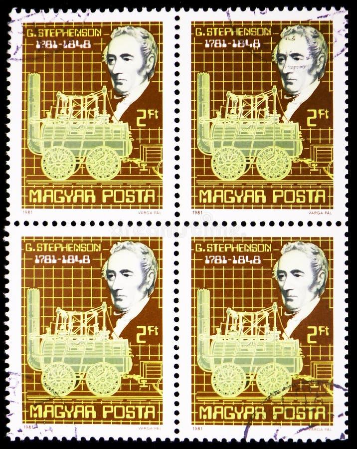 George Stephenson, serie das personalidades, cerca de 1981 fotografia de stock