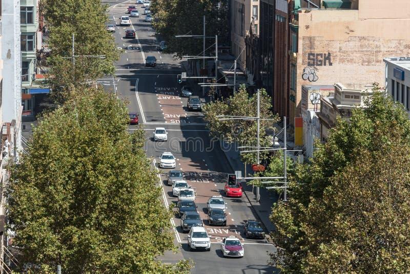 George Street nella vista di Sydney da altezza fotografie stock