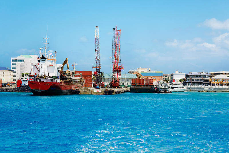 George Town commercial docks stock image