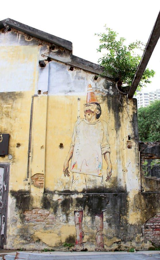 GEORGE TOWN, MALASIA - 6 DE JUNIO DE 2015: pintura en la construcción wal imagenes de archivo