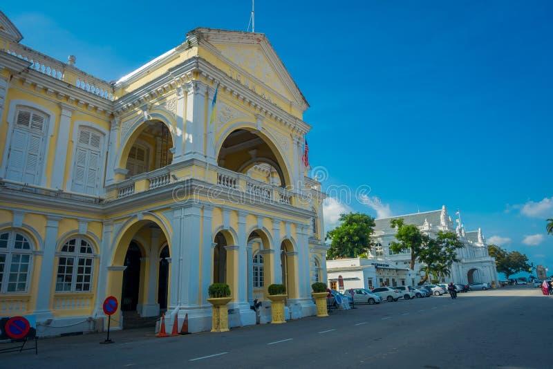George Town, Malasia - 10 de marzo de 2017: Vista escénica hermosa ayuntamiento, un de construcción británica, Edwardian-estilo P imagen de archivo libre de regalías
