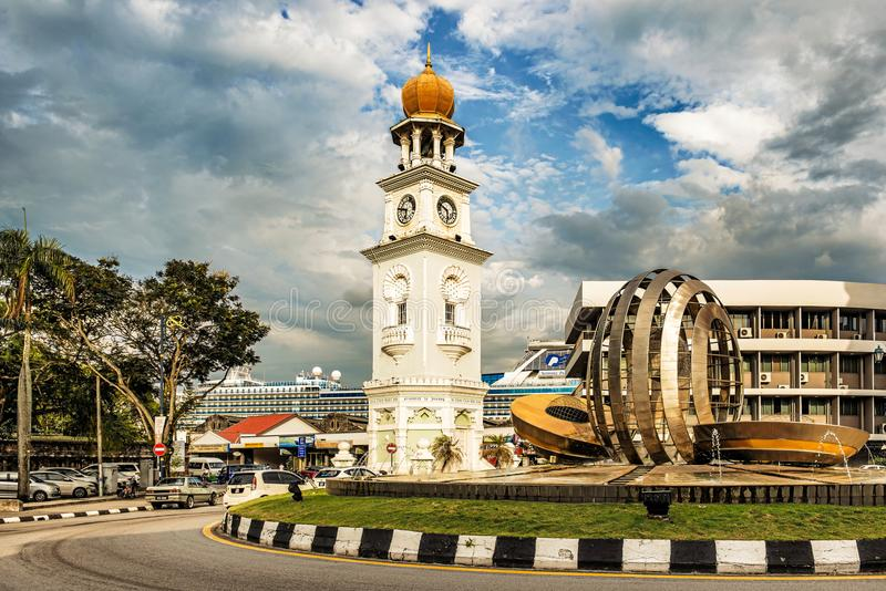 Jubilee Clock Tower, in George Town, Penang, Malaysia. George Town, Malaysia - Jan 6, 2018: Modern art sculpture at Jubilee Clock Tower, in Penang, Malaysia. It stock photo