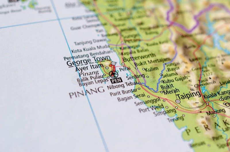 George Town, Penang sur la carte photos libres de droits