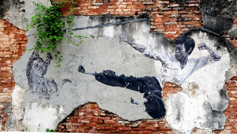 George Town street art. George Town, which is the capital city of Penang, Malaysia, is a UNSECO heritage site and at the same time famous for its street art royalty free illustration