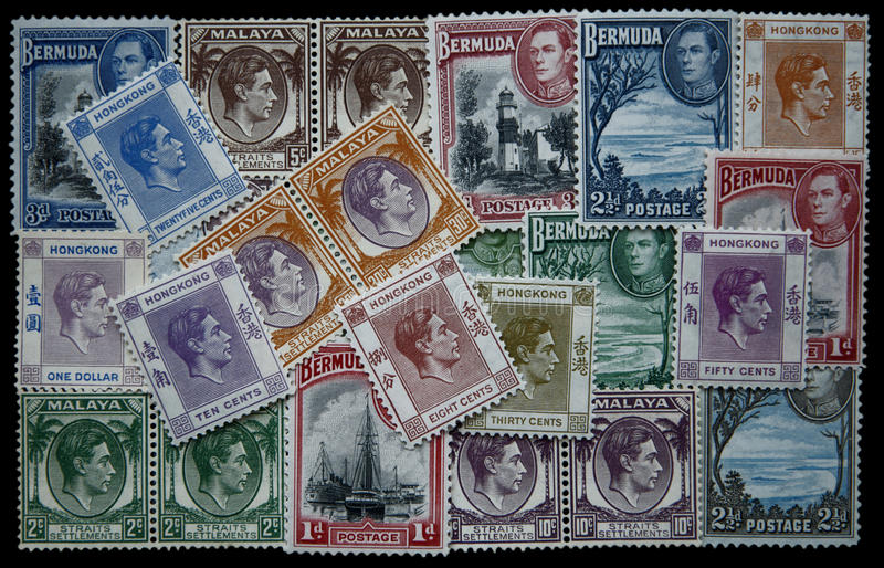 George VI stamps. Vintage stamps collection of King George VI isolated stock photos