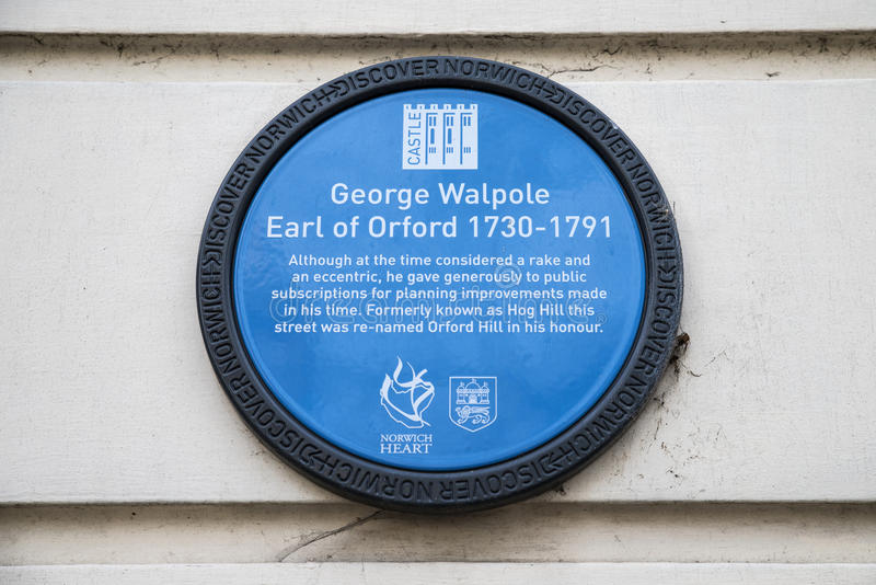 George Walpole Plaque in Norwich royalty-vrije stock foto's