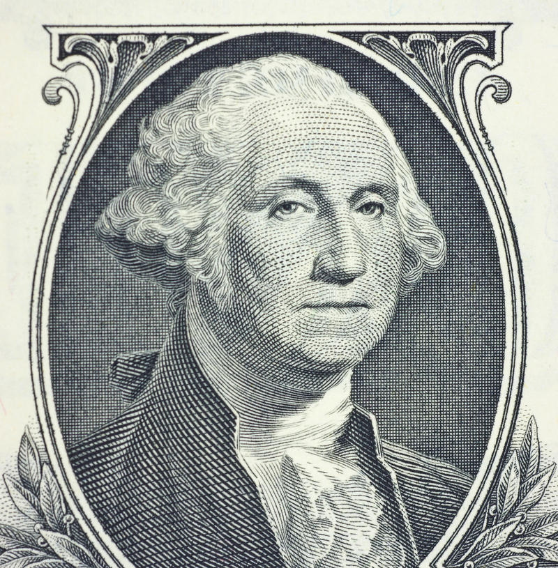 George Washington. From the front of an United States of America one dollar bill stock image