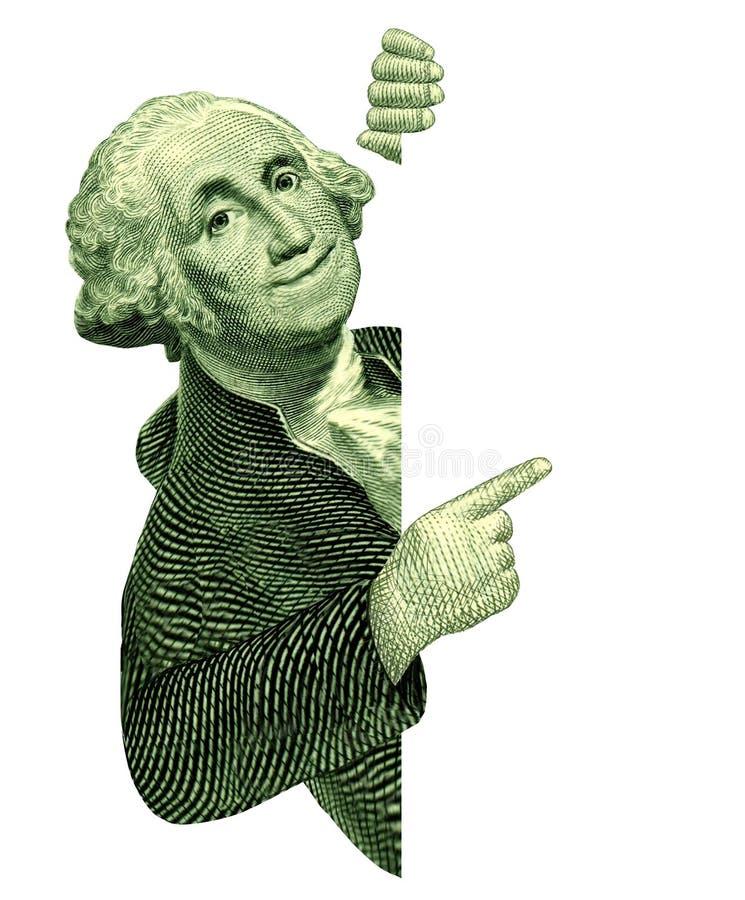 George Washington avec un signe blanc illustration stock
