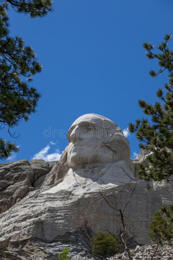 George Washington bij Onderstel Rushmore stock foto