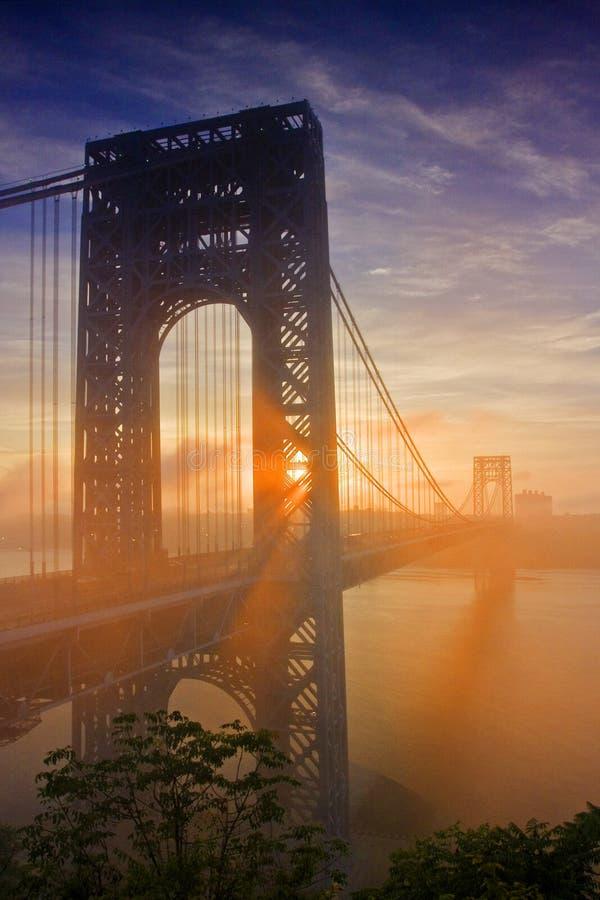 George Washington Bridge. At sunrise stock image