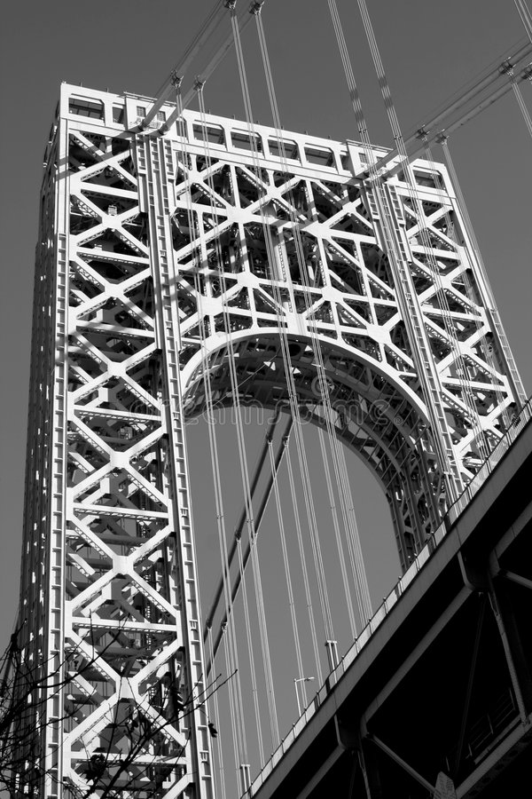 George Washington Bridge. The George Washington Bridge crosses over the Hudson River from New Jersey to The Bronx, New York. Black and white stock photo