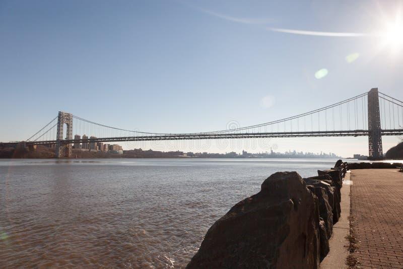 George Washington Bridge do forte Lee Historic Park fotos de stock royalty free