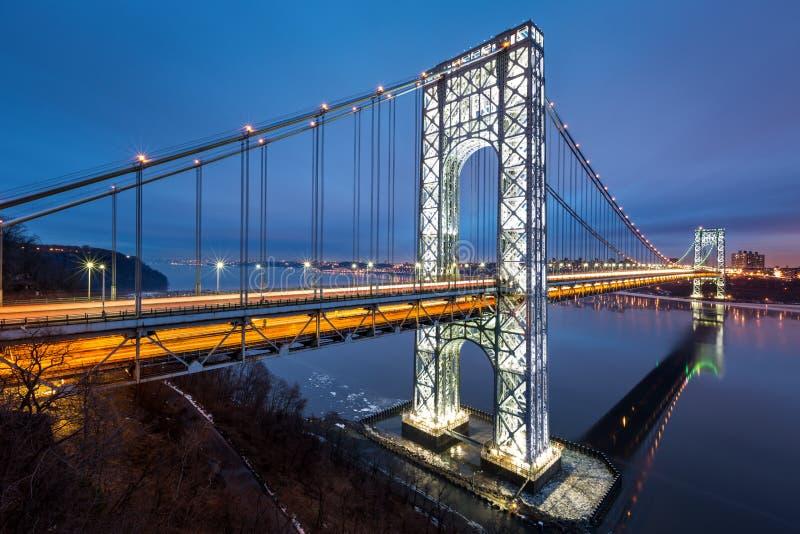 George Washington Bridge at dusk royalty free stock photo