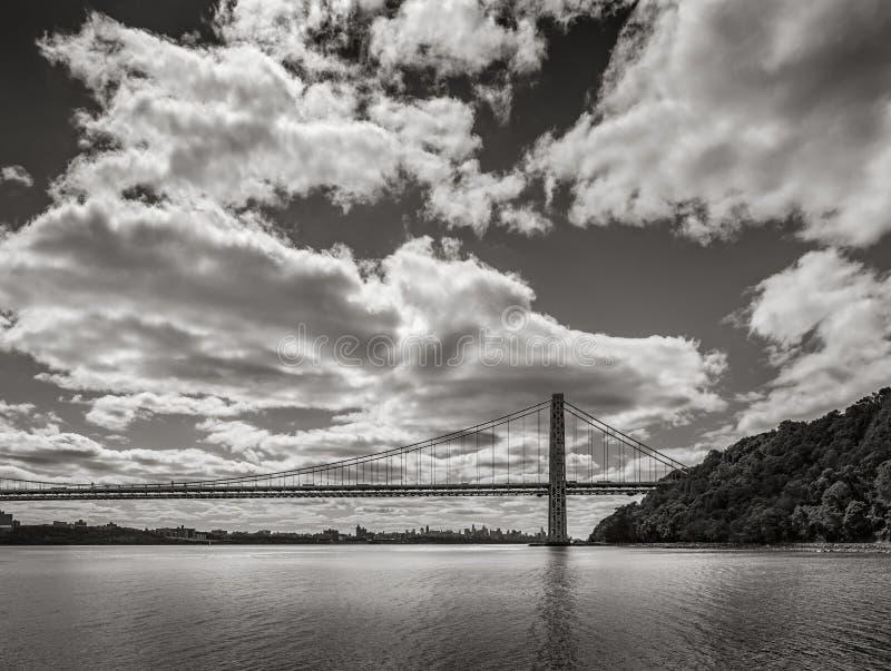 George Washington Bridge and Hudson River. New York City stock image