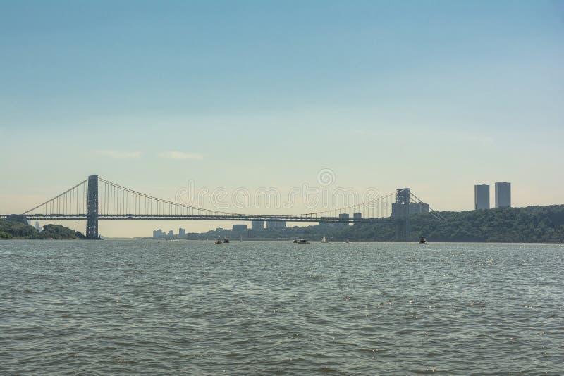 George Washington Bridge over Hudson River, Manhattan, NYC stock afbeeldingen