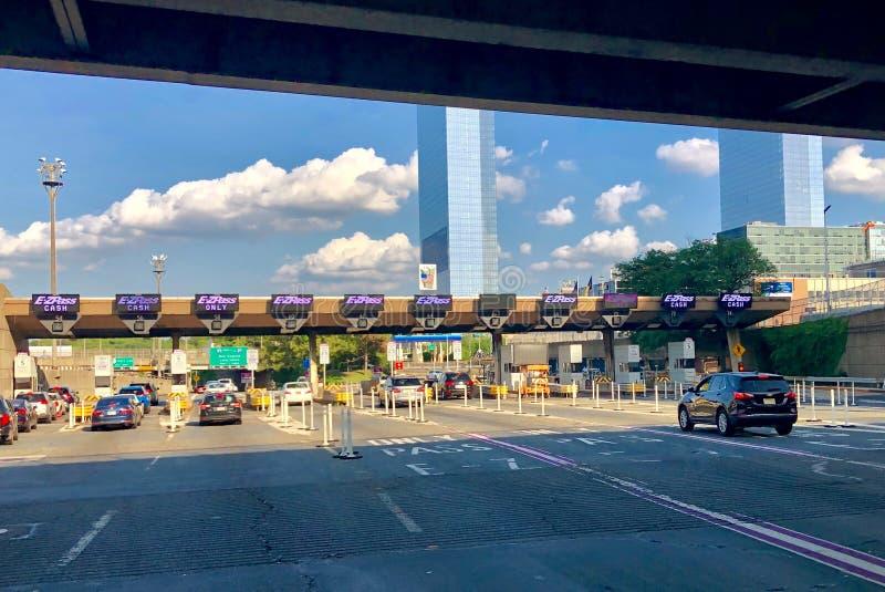 George Washington Bridge Toll Plaza royaltyfri foto