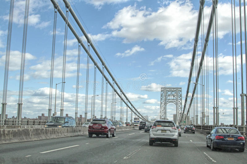George Washington Bridge Traffic royaltyfria foton