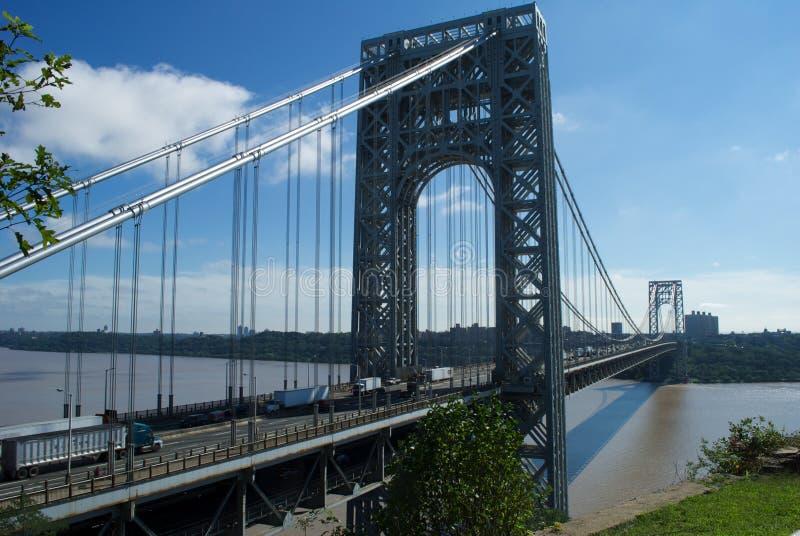George Washington bridge during the morning rush hour royalty free stock photo