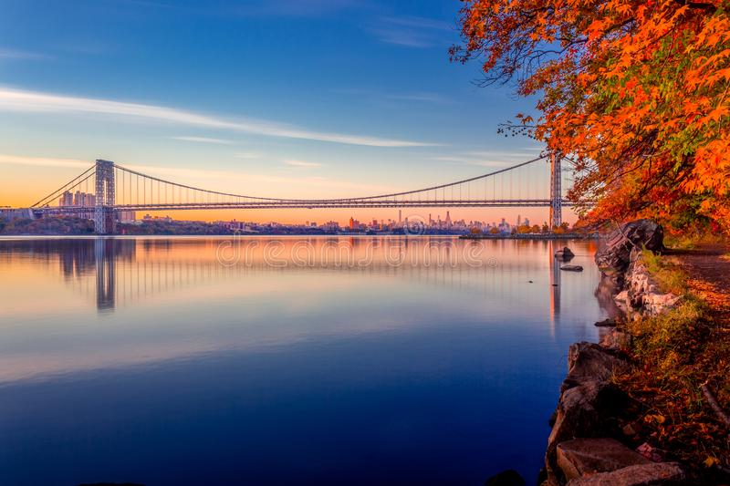 George Washington Bridge at Sunrise stock photos
