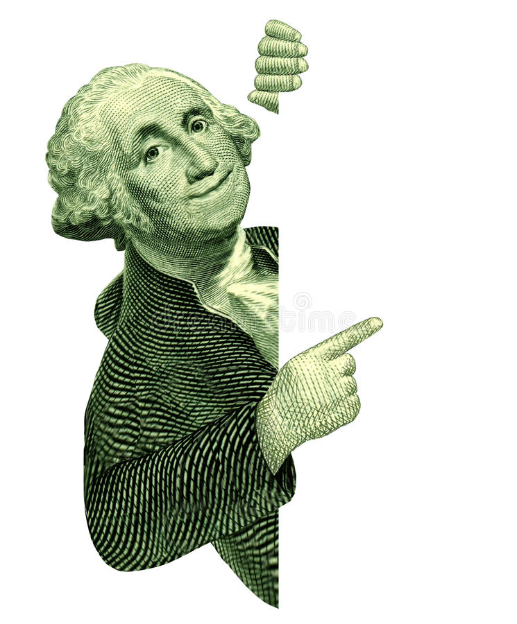 George Washington con una muestra en blanco stock de ilustración