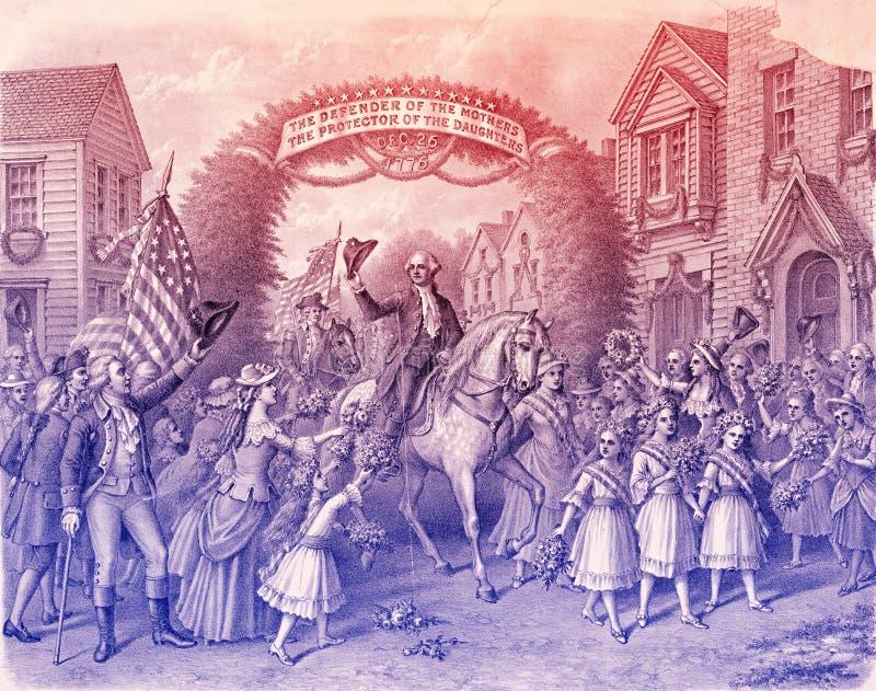 George Washington die Trenton, gegraveerde illustratie ingaan vector illustratie