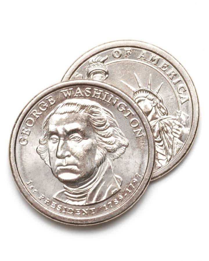 George Washington dollarmuntstukken 6 royalty-vrije stock foto's